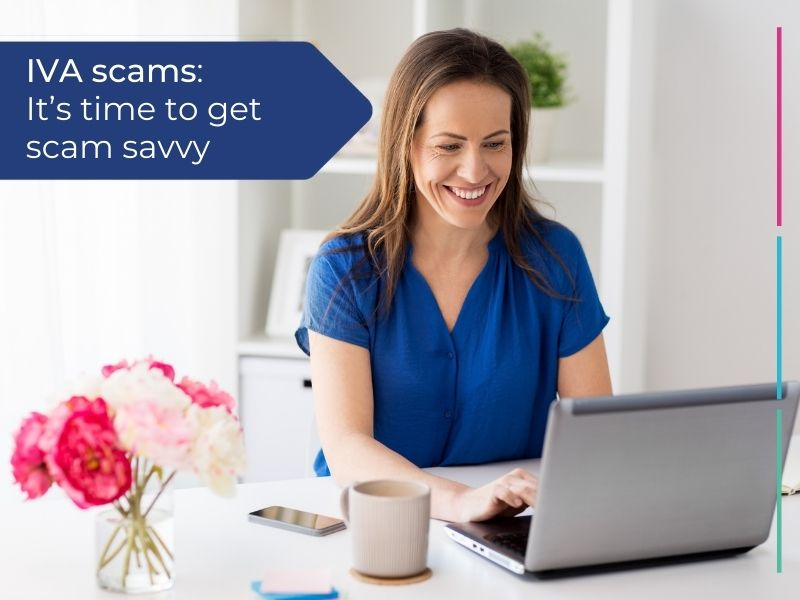 Woman researching IVA scams to become scam savvy