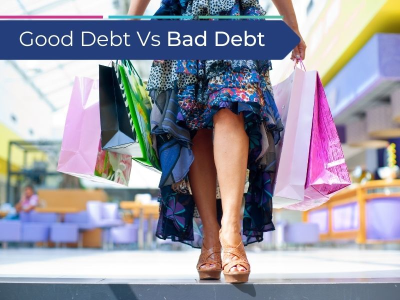 Woman spending money on clothes creating bad debt instead of good debt
