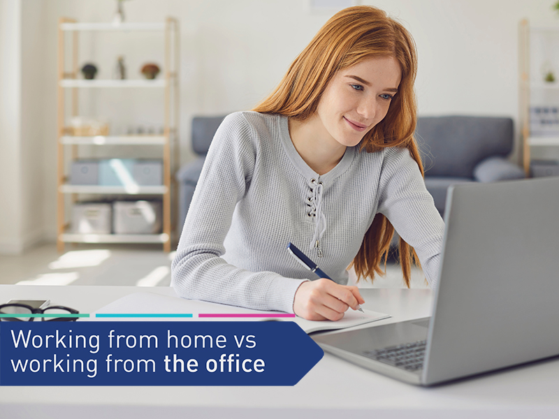 Young lady working from home on laptop