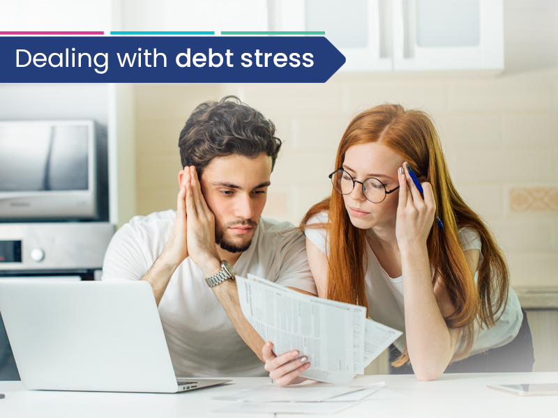 A couple dealing with debt stress